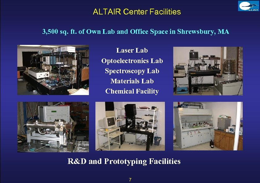 ALTAIR Center Facilities 3, 500 sq. ft. of Own Lab and Office Space in