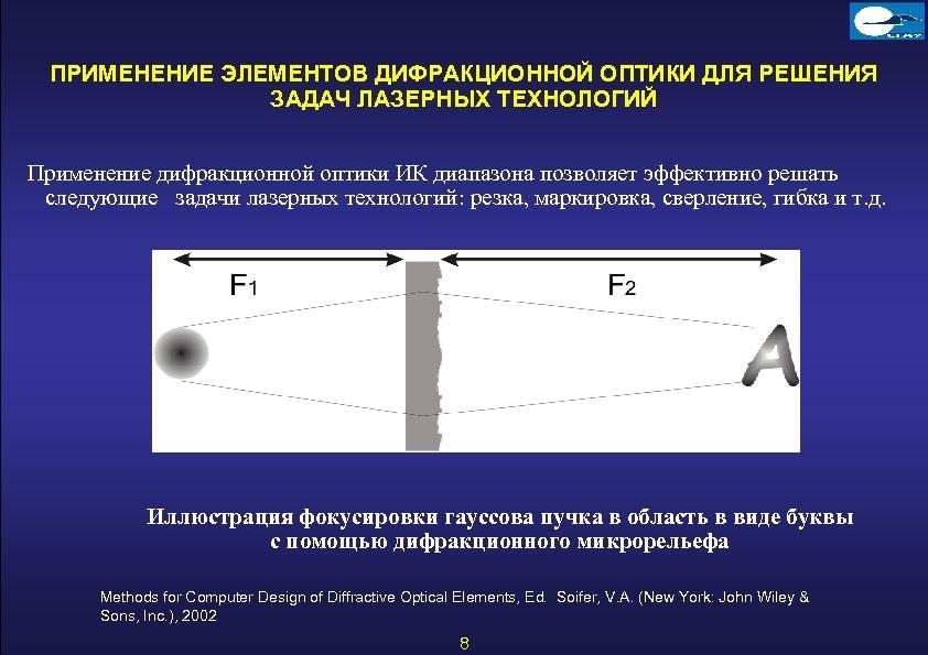 ПРИМЕНЕНИЕ ЭЛЕМЕНТОВ ДИФРАКЦИОННОЙ ОПТИКИ ДЛЯ РЕШЕНИЯ ЗАДАЧ ЛАЗЕРНЫХ ТЕХНОЛОГИЙ Применение дифракционной оптики ИК диапазона