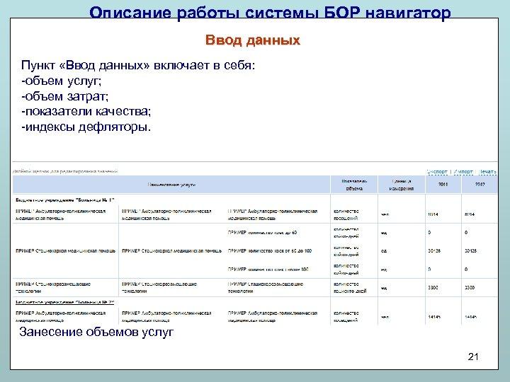 Описание работы системы БОР навигатор Ввод данных Пункт «Ввод данных» включает в себя: -объем