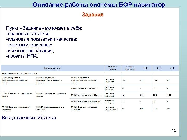 Описание работы системы БОР навигатор Задание Пункт «Задание» включает в себя: -плановые объемы; -плановые