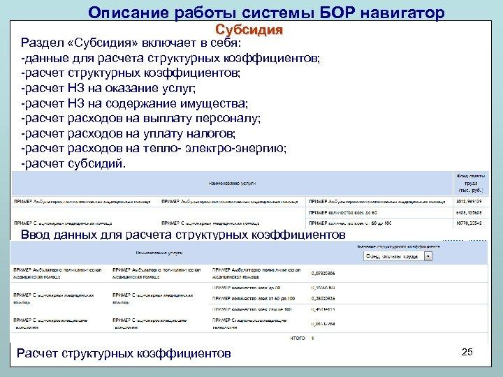 Описание работы системы БОР навигатор Субсидия Раздел «Субсидия» включает в себя: -данные для расчета
