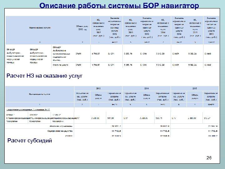 Описание работы системы БОР навигатор Расчет НЗ на оказание услуг Расчет субсидий 26
