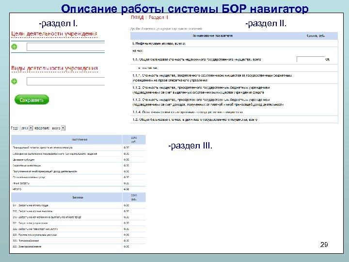 Описание работы системы БОР навигатор -раздел III. 29