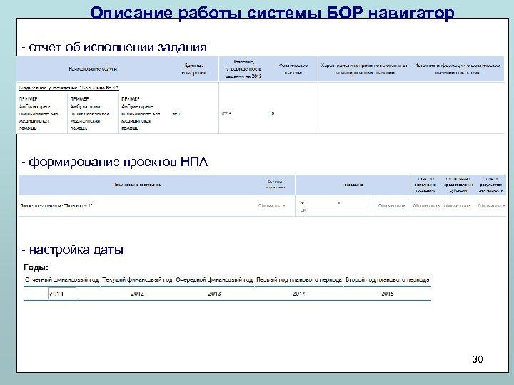 Описание работы системы БОР навигатор - отчет об исполнении задания - формирование проектов НПА