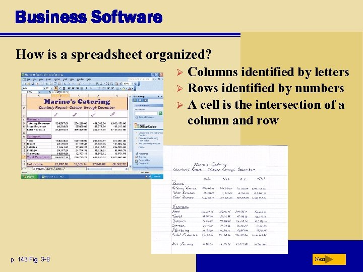 Business Software How is a spreadsheet organized? Columns identified by letters Ø Rows identified