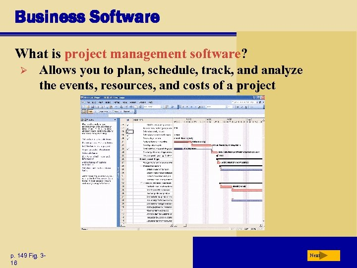 Business Software What is project management software? Ø Allows you to plan, schedule, track,
