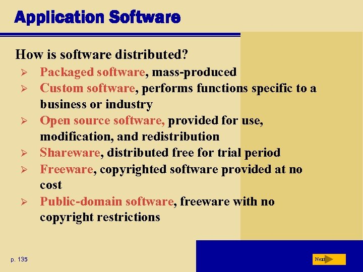 Application Software How is software distributed? Ø Ø Ø p. 135 Packaged software, mass-produced