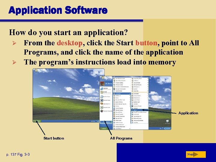 Application Software How do you start an application? Ø Ø From the desktop, click
