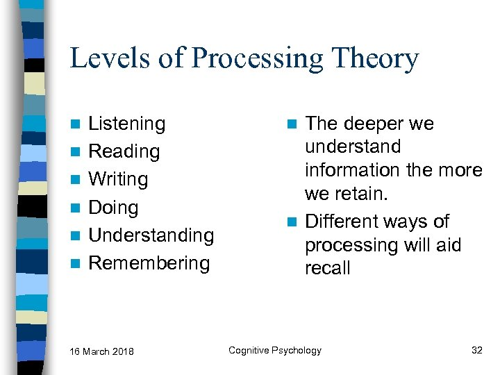 Levels of Processing Theory n n n Listening Reading Writing Doing Understanding Remembering 16