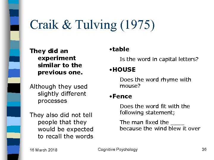Craik & Tulving (1975) They did an experiment similar to the previous one. Although
