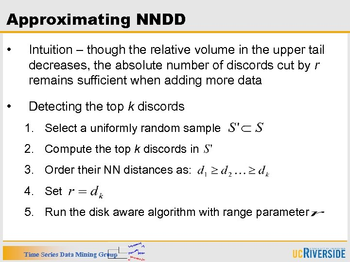 Approximating NNDD • Intuition – though the relative volume in the upper tail decreases,