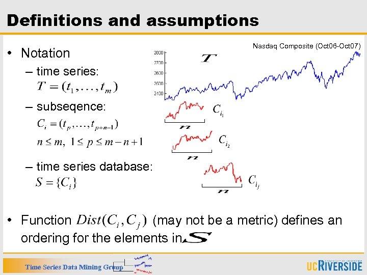 Definitions and assumptions • Notation Nasdaq Composite (Oct 06 -Oct 07) – time series: