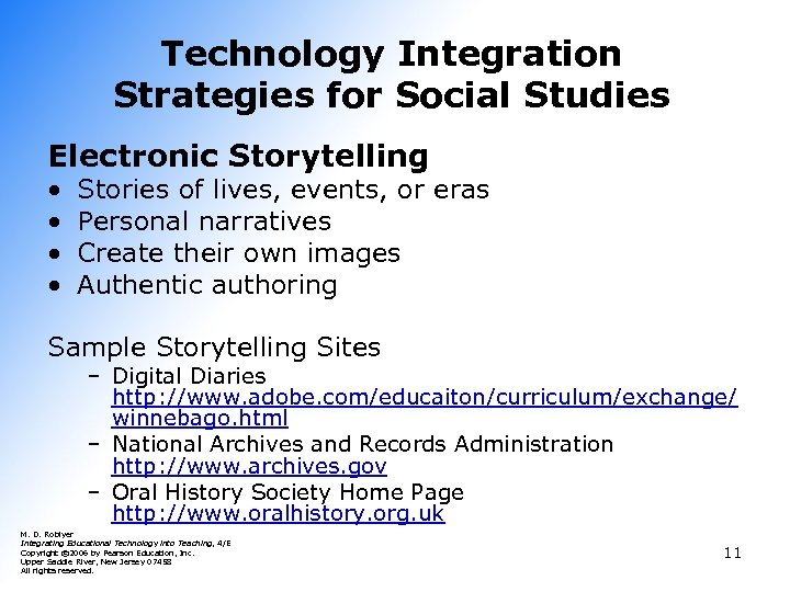 Technology Integration Strategies for Social Studies Electronic Storytelling • • Stories of lives, events,