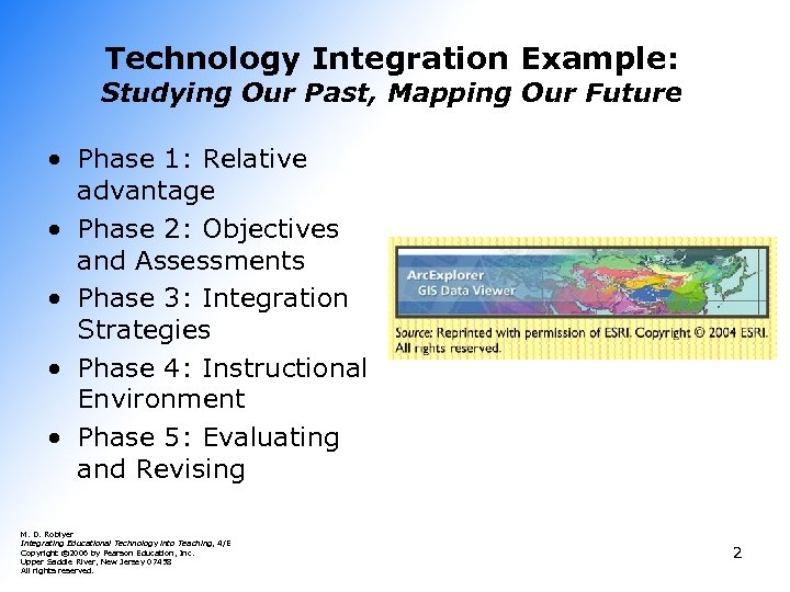 Technology Integration Example: Studying Our Past, Mapping Our Future • Phase 1: Relative advantage