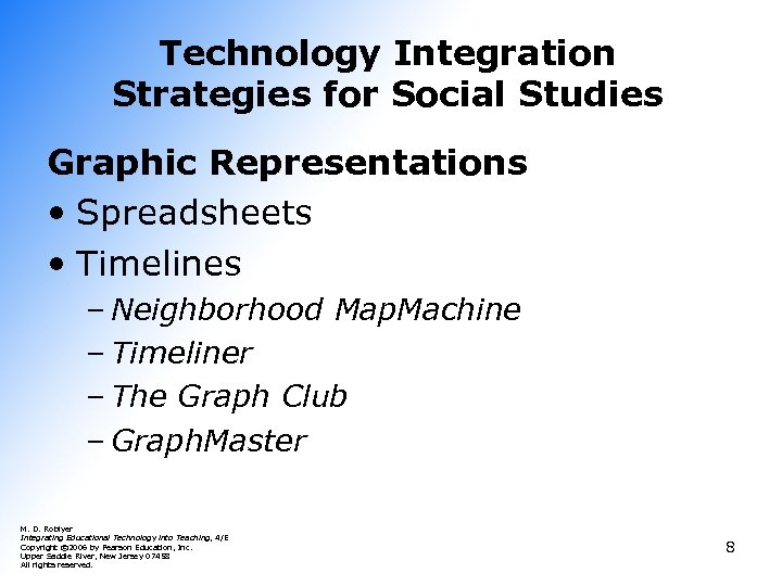 Technology Integration Strategies for Social Studies Graphic Representations • Spreadsheets • Timelines – Neighborhood