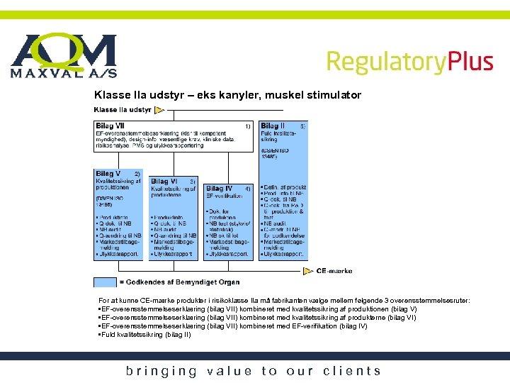 Klasse IIa udstyr – eks kanyler, muskel stimulator For at kunne CE-mærke produkter i