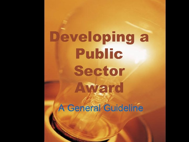 Developing a Public Sector Award A General Guideline