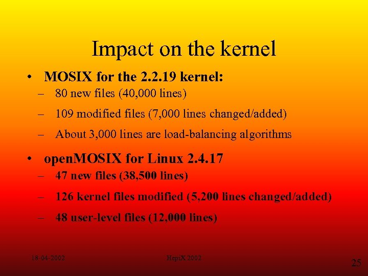 Impact on the kernel • MOSIX for the 2. 2. 19 kernel: – 80