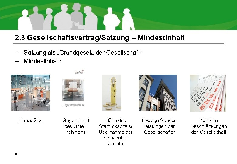 """2. 3 Gesellschaftsvertrag/Satzung – Mindestinhalt – Satzung als """"Grundgesetz der Gesellschaft"""" – Mindestinhalt: Firma,"""