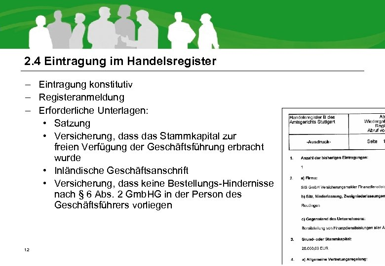 2. 4 Eintragung im Handelsregister – Eintragung konstitutiv – Registeranmeldung – Erforderliche Unterlagen: •