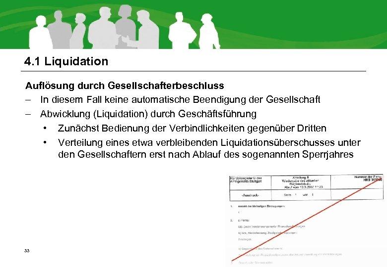 4. 1 Liquidation Auflösung durch Gesellschafterbeschluss – In diesem Fall keine automatische Beendigung der