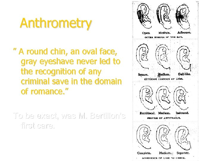 """Anthrometry """" A round chin, an oval face, gray eyeshave never led to the"""