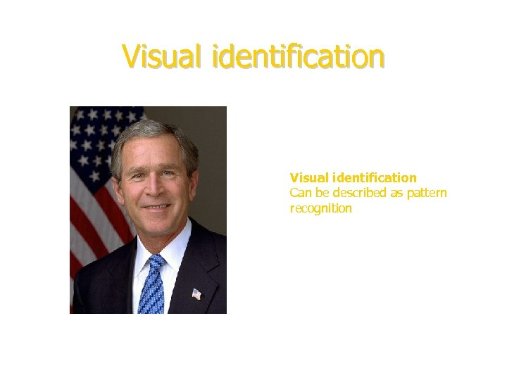 Visual identification Can be described as pattern recognition