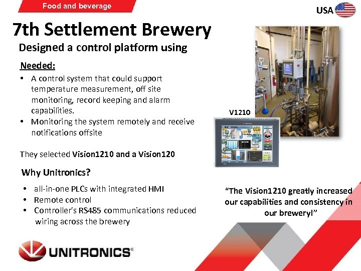 Food and beverage USA 7 th Settlement Brewery Designed a control platform using Needed: