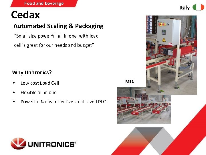 "Food and beverage Italy Cedax Automated Scaling & Packaging ""Small size powerful all in"