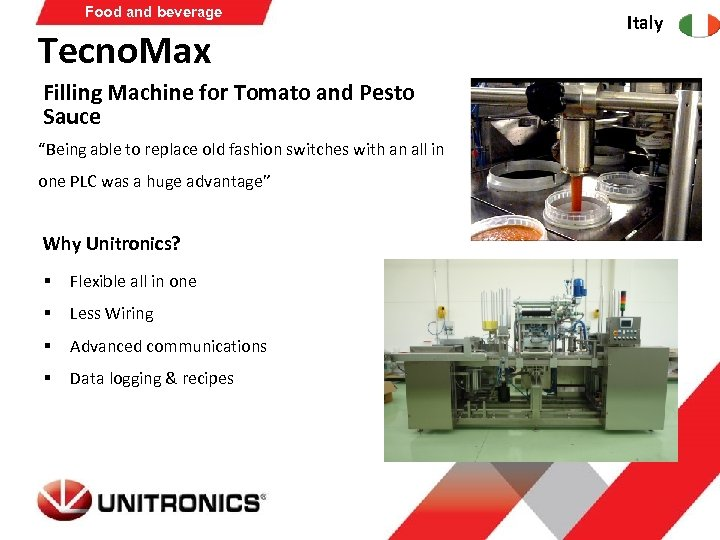 "Food and beverage Tecno. Max Filling Machine for Tomato and Pesto Sauce ""Being able"