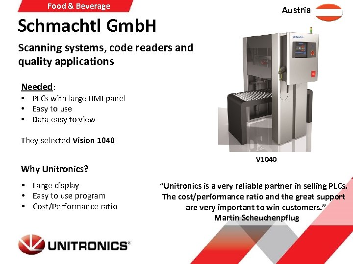 Food & Beverage Austria Schmachtl Gmb. H Scanning systems, code readers and quality applications