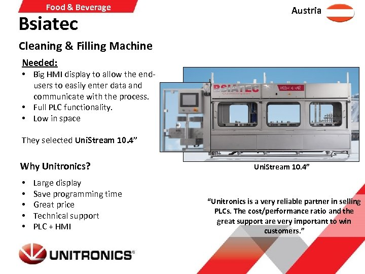 Food & Beverage Bsiatec Austria Cleaning & Filling Machine Needed: • Big HMI display
