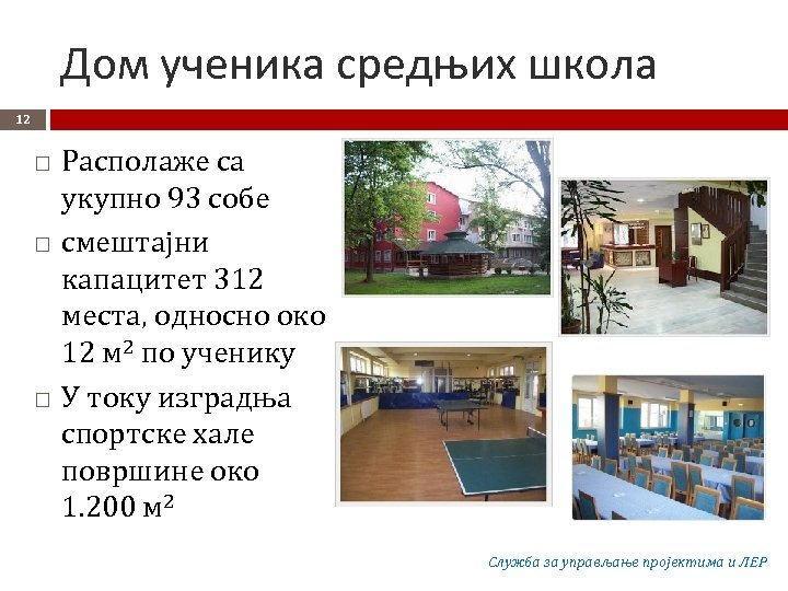 Дом ученика средњих школа 12 Располаже са укупно 93 собе смештајни капацитет 312 места,