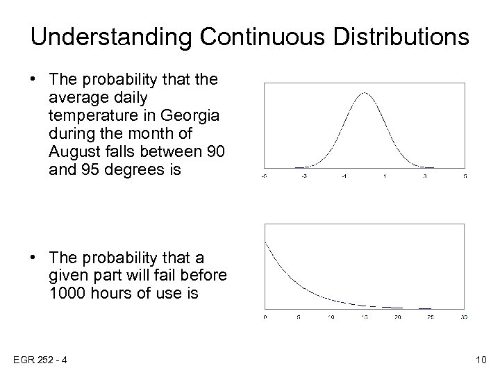 Understanding Continuous Distributions • The probability that the average daily temperature in Georgia during