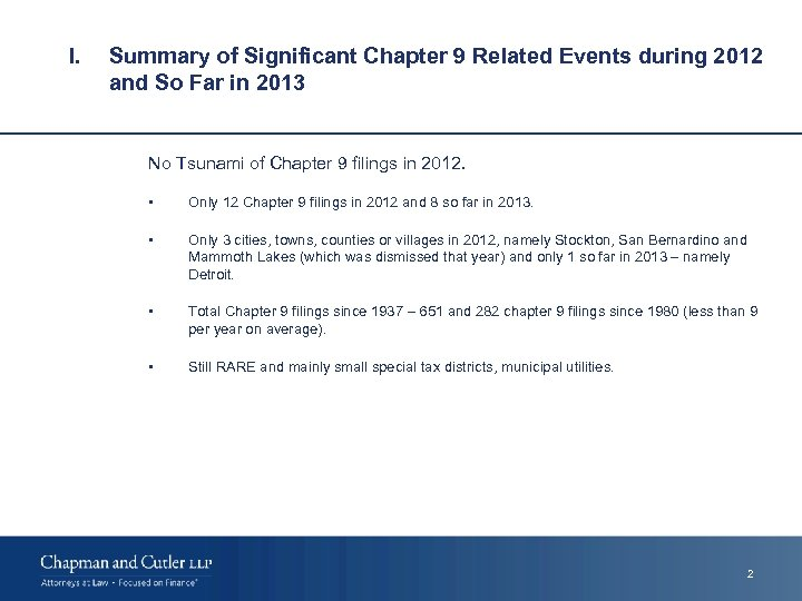 I. Summary of Significant Chapter 9 Related Events during 2012 and So Far in