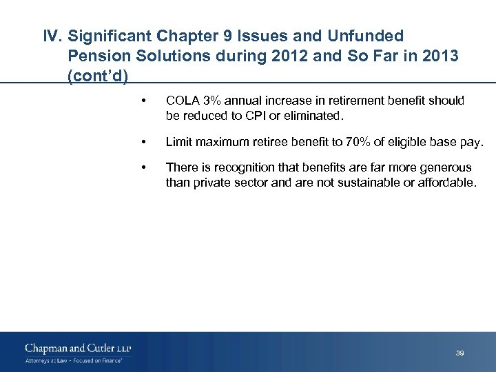 IV. Significant Chapter 9 Issues and Unfunded Pension Solutions during 2012 and So Far