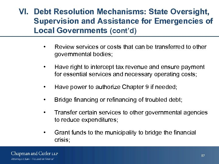 VI. Debt Resolution Mechanisms: State Oversight, Supervision and Assistance for Emergencies of Local Governments