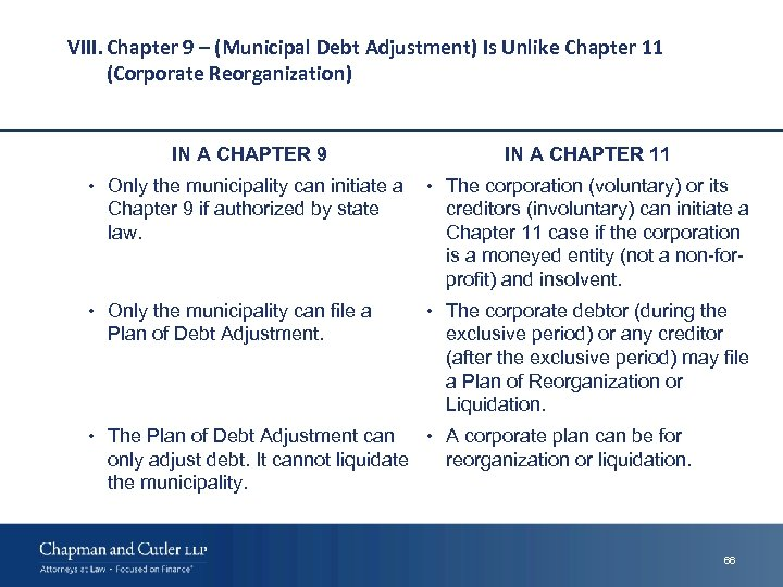VIII. Chapter 9 – (Municipal Debt Adjustment) Is Unlike Chapter 11 (Corporate Reorganization) IN