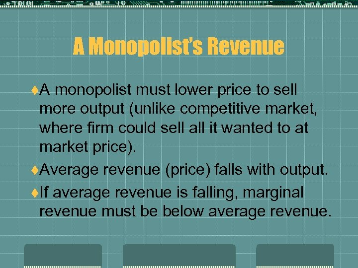 A Monopolist's Revenue t. A monopolist must lower price to sell more output (unlike