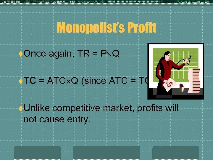 Monopolist's Profit t. Once t. TC again, TR = P Q = ATC Q
