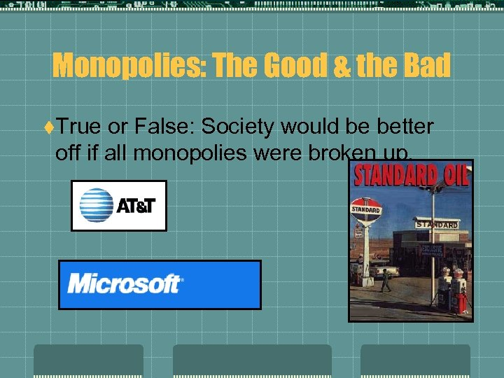 Monopolies: The Good & the Bad t. True or False: Society would be better