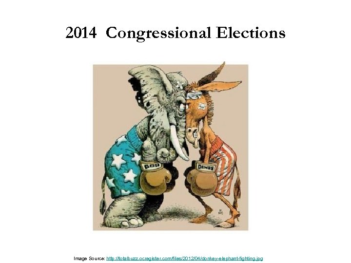 2014 Congressional Elections Image Source: http: //totalbuzz. ocregister. com/files/2012/04/donkey-elephant-fighting. jpg
