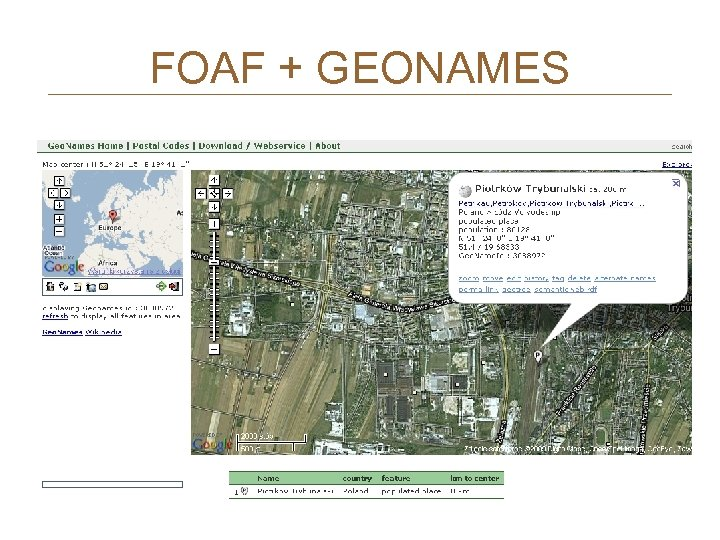 FOAF + GEONAMES