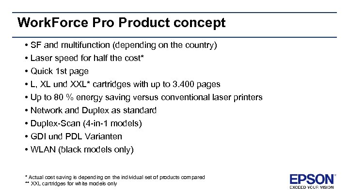Work. Force Product concept • SF and multifunction (depending on the country) • Laser
