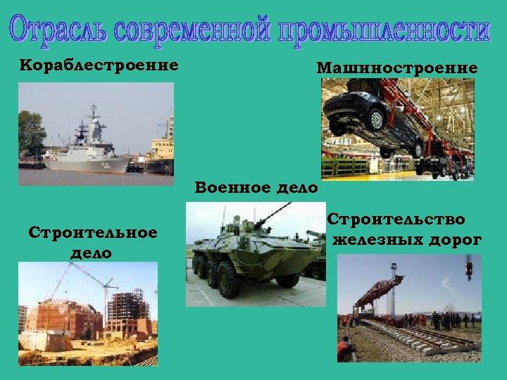 Кораблестроение Машиностроение Военное дело Строительство железных дорог
