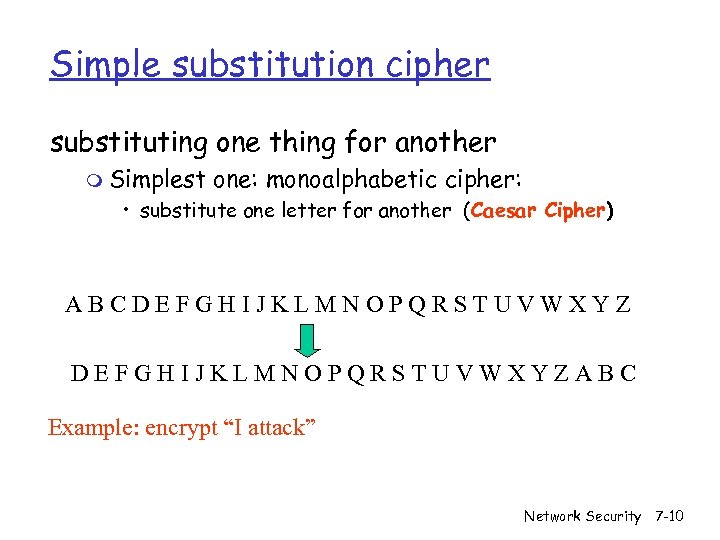 Simple substitution cipher substituting one thing for another m Simplest one: monoalphabetic cipher: •