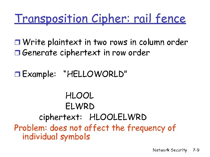 Transposition Cipher: rail fence r Write plaintext in two rows in column order r