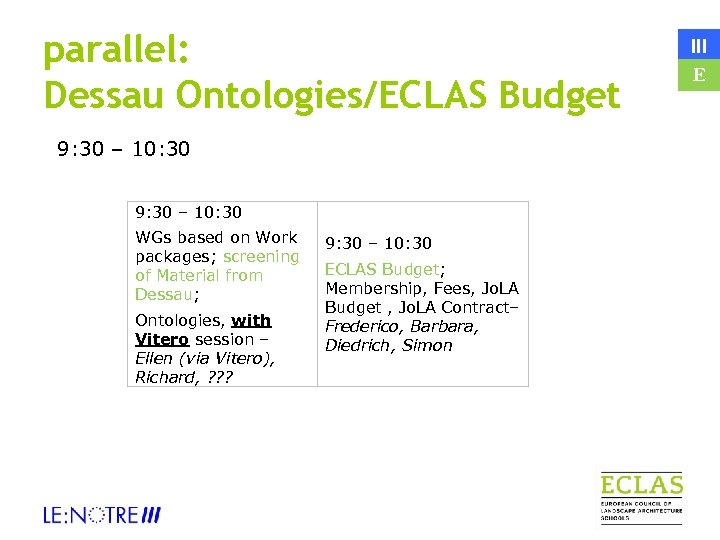 parallel: Dessau Ontologies/ECLAS Budget 9: 30 – 10: 30 WGs based on Work packages;