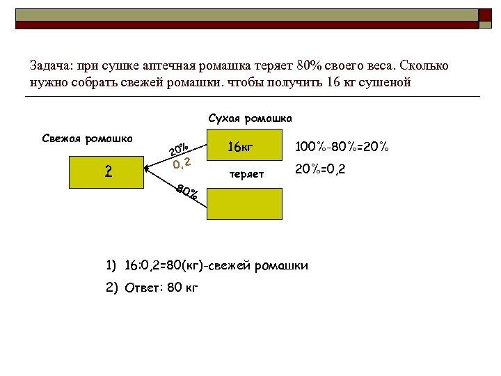 Задача: при сушке аптечная ромашка теряет 80% своего веса. Сколько нужно собрать свежей ромашки.