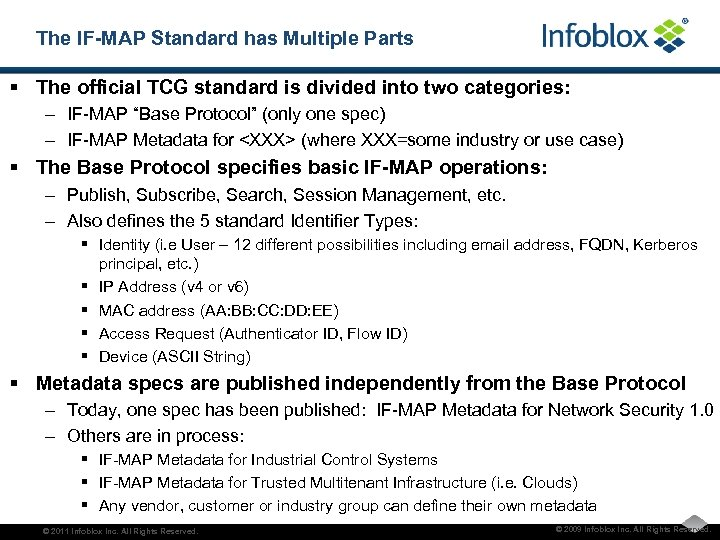The IF-MAP Standard has Multiple Parts § The official TCG standard is divided into